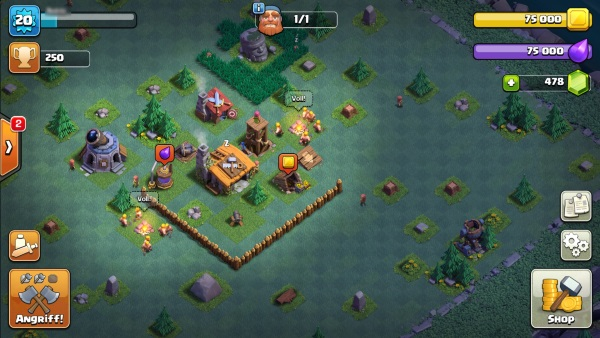 Clash of Clans Bauarbeiterbasis Meisterhütte Level 2 bestes Layout