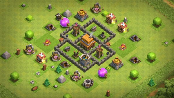 Clash of Clans Rathaus Level 4 bestes Layout